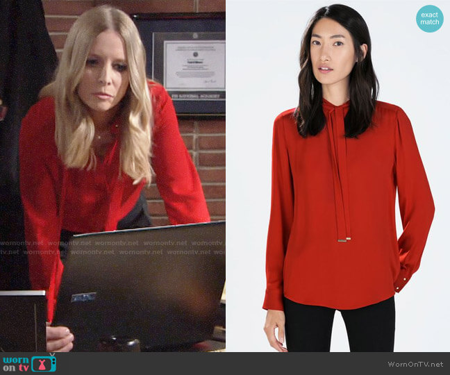 Zara Bowed Blouse worn by Lauralee Bell on The Young & the Restless
