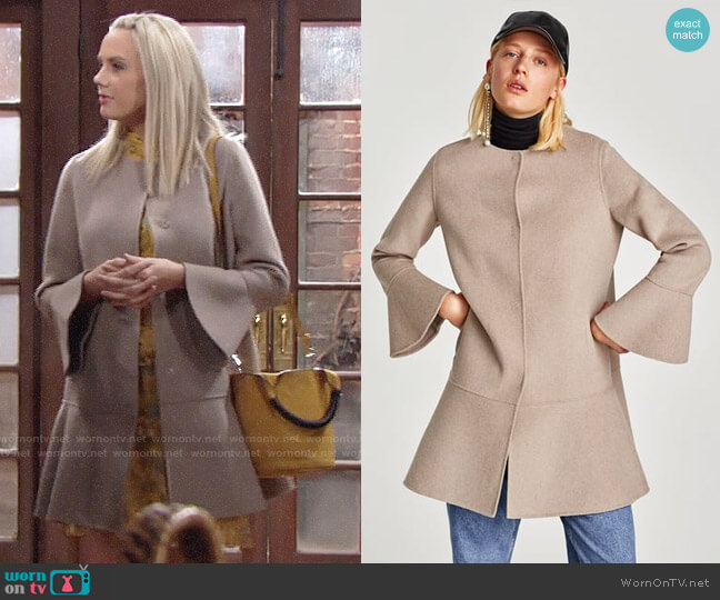 Zara Ruffled Wool Coat worn by Abby Newman (Melissa Ordway) on The Young & the Restless