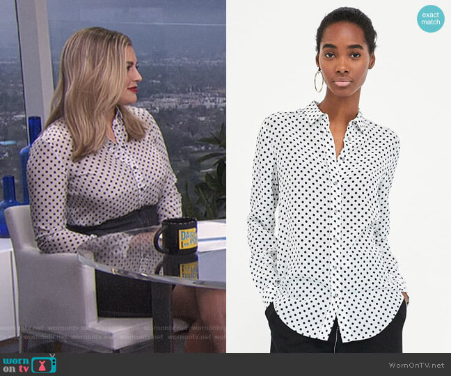 Silk Polka Dot Blouse by Zara worn by Carissa Loethen Culiner on E! News
