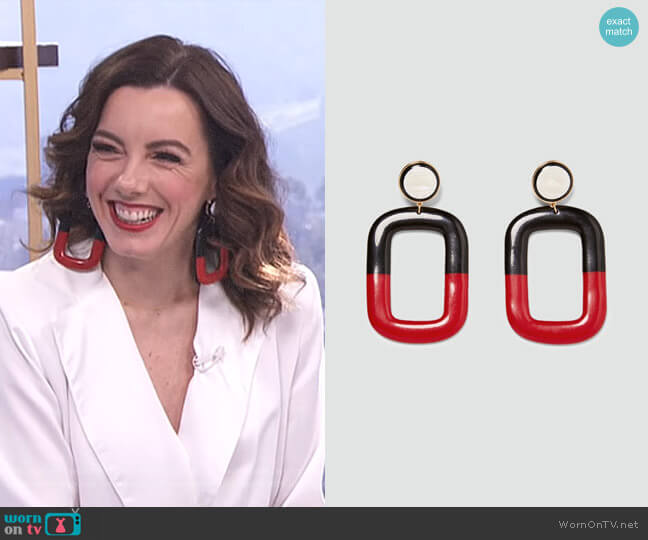 Square Dangle Earrings by Zara worn by Melanie Bromley on E! News