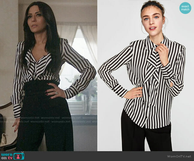 Zara Striped Blouse with Shoulder Pads worn by Hermione Lodge (Marisol Nichols) on Riverdale