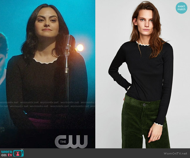 Zara T-shirt with Zigzag Neckline worn by Veronica Lodge (Camila Mendes) on Riverdale
