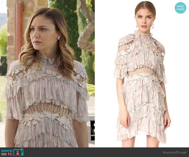 6da2512530ee Zimmermann Stranded Tier Mini Dress worn by Megan Morrison (Christine  Evangelista) on The Arrangement