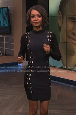 Zuri's black lace-up dress with grommets on E! News