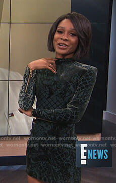 Zuri's green velvet mini dress on E! News