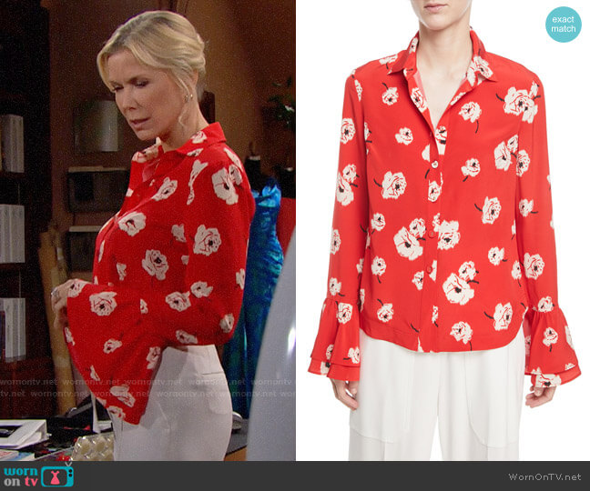 Derek Lam 10 Crosby Floral-Print Silk Shirt w/ Ruffle Cuff worn by Brooke Logan (Katherine Kelly Lang) on The Bold & the Beautiful