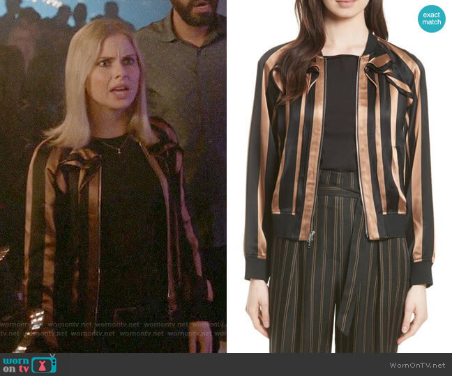 3.1 Phillip Lim Ruffle Stripe Satin Bomber worn by Liv Moore (Rose McIver) on iZombie