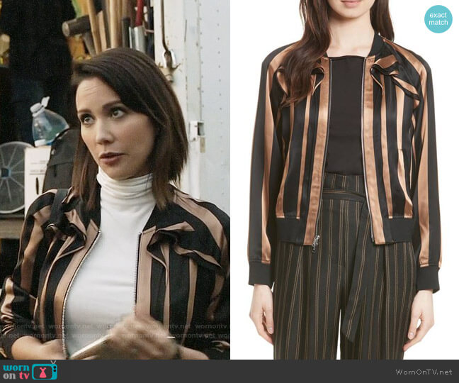 3.1 Phillip Lim Ruffle Stripe Satin Bomber worn by Deann Anderson (Lexa Doig) on The Arrangement