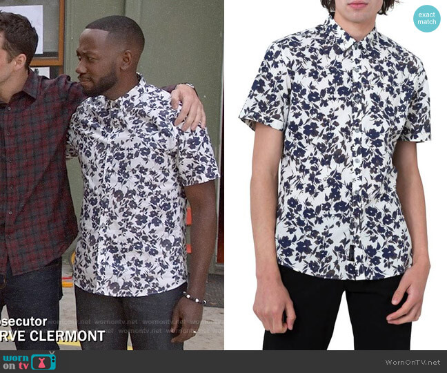 7 Diamonds Magnificent Floral Print Sport Shirt worn by Winston Bishop (Lamorne Morris) on New Girl