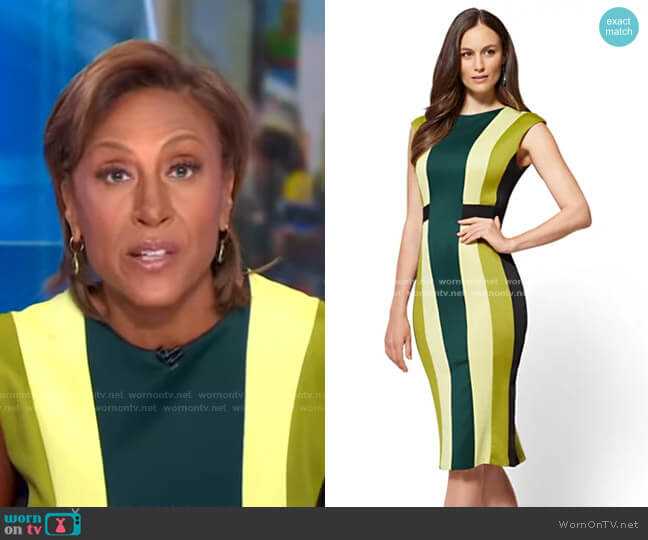 7th Avenue Colorblock Sheath Dress by New York & Company worn by Robin Roberts  on Good Morning America