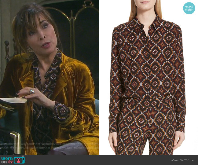 Aubrey Print Silk Top by ALC worn by Lauren Koslow on Days of our Lives