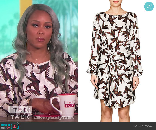 Freja Palm-Leaf-Print Silk Dress by ALC worn by Eve  on The Talk