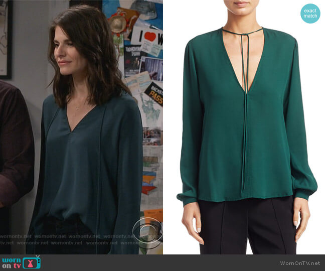 Kirk Long-Sleeve Silk V-Neck Blouse by ALC worn by Leslie Curry (Lindsey Kraft) on Living Biblically