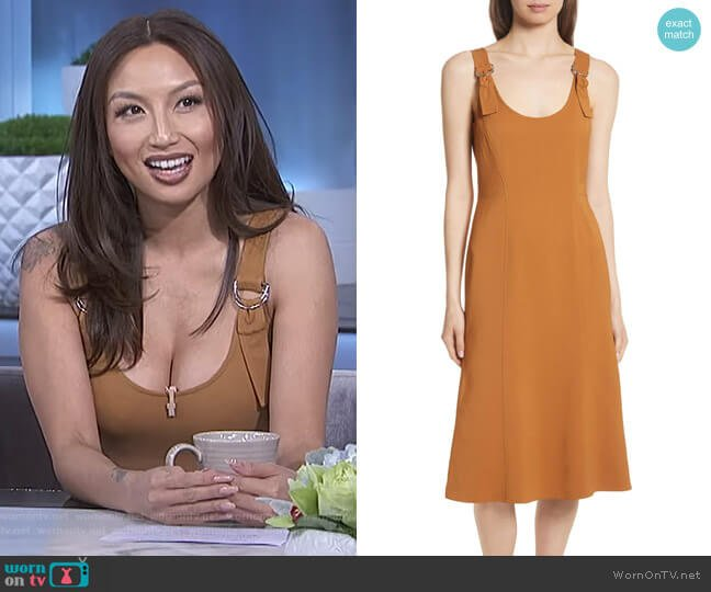 Sander Buckle Strap Midi Dress by ALC worn by Jeannie Mai (Jeannie Mai) on The Real