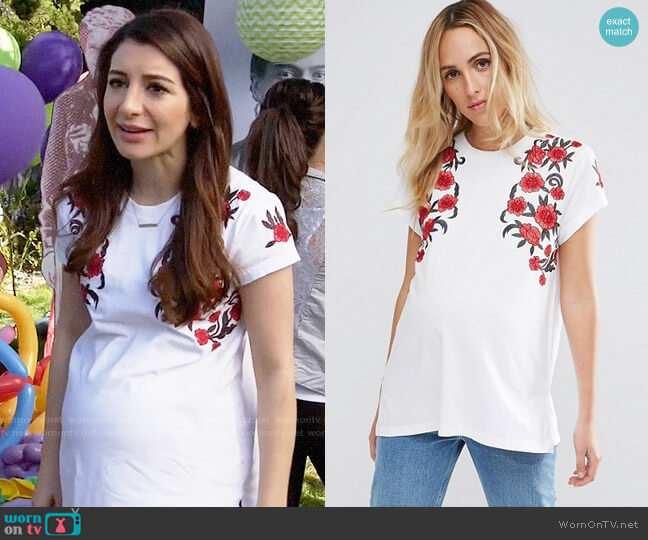 ASOS Maternity T-Shirt With Floral Embroidery worn by Aly Nelson (Nasim Pedrad) on New Girl