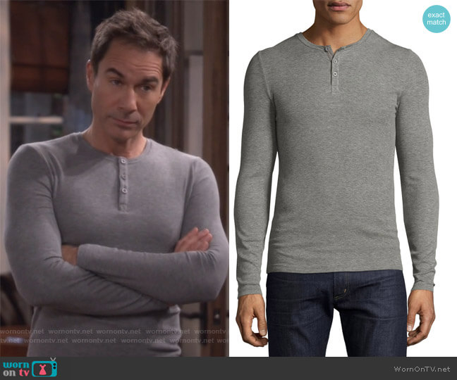 Long Sleeve Rib Henley by Anthony Thomas Melillo worn by Eric McCormack on Will & Grace