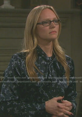 Abigail's black floral tie neck dress on Days of our Lives