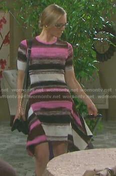 Abigail's striped asymmetric hem knit dress on Days of our Lives
