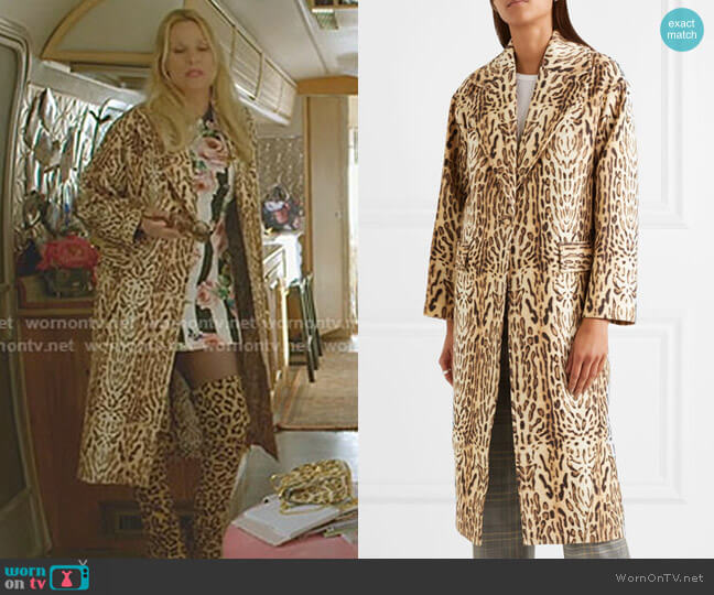 Leopard-Print Wool-Gabardine Coat by Adam Lippes worn by Nicollette Sheridan on Dynasty