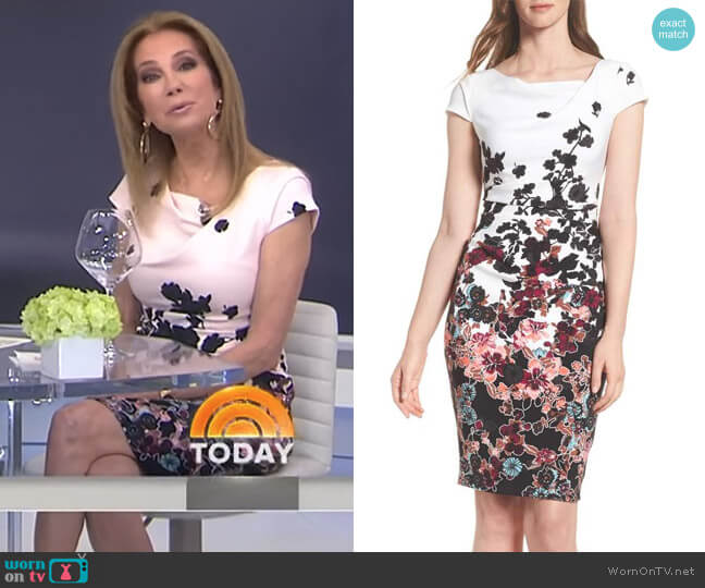 Floral Bliss Cowl Neck Sheath Dress by Adrianna Papell worn by Kathie Lee Gifford  on Today