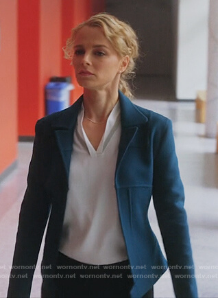 Lizzie's blue seamed cashmere jacket on Instinct