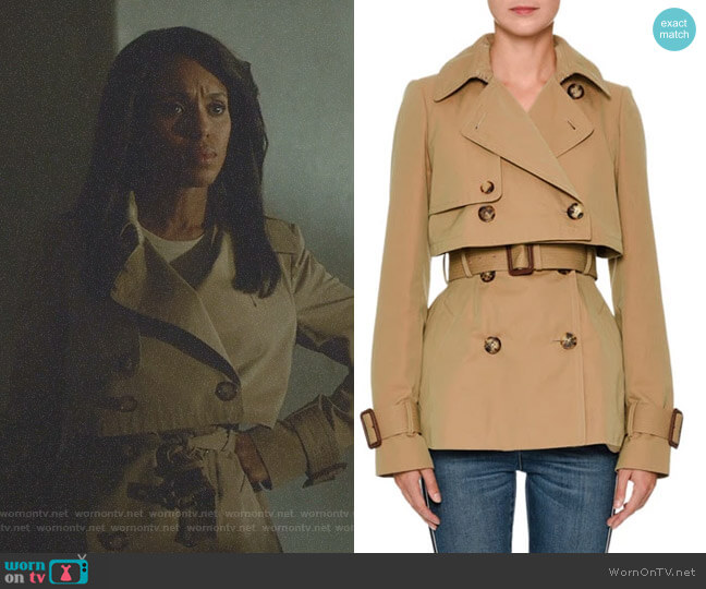 Double-Breasted Cotton Short Trench Coat by Alexander McQueen worn by Kerry Washington on Scandal