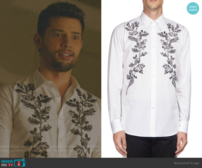 Embroidered Leaves Button-Down Shirt by Alexander McQueen worn by Rafael de la Fuente on Dynasty