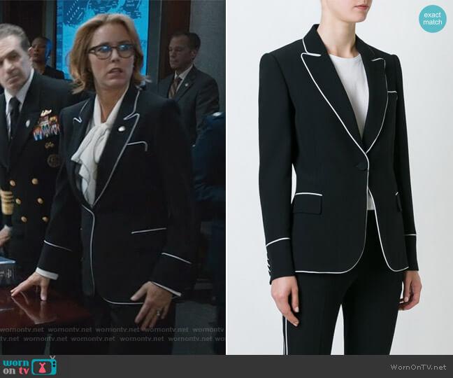 Contrast Trim Blazer by Alexander McQueen worn by Téa Leoni on Madam Secretary