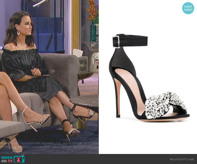 Embellished Bow Sandals by Alexander McQueen worn by Kyle Richards on The Real Housewives of Beverly Hills