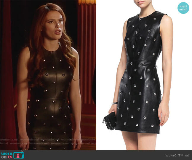 Studded leather mini dress by Alexander Wang worn by Bella Thorne on Famous in Love