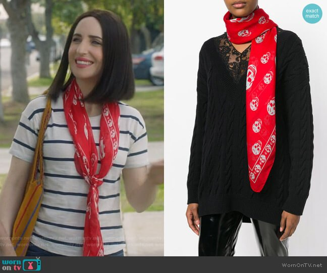 Skull Scarf by Alexander McQueen worn by Jennifer Short (Zoe Lister-Jones) on Life in Pieces