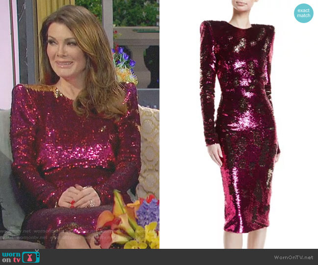Sequined Long-Sleeve Open-Back Cocktail Dress by Alexandre Vauthier worn by Lisa Vanderpump on The Real Housewives of Beverly Hills