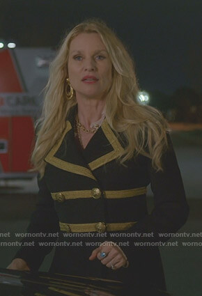 Alexis's black military coat on Dynasty