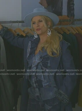 Alexis's denim patchwork ruffled top and flare pants on Dynasty
