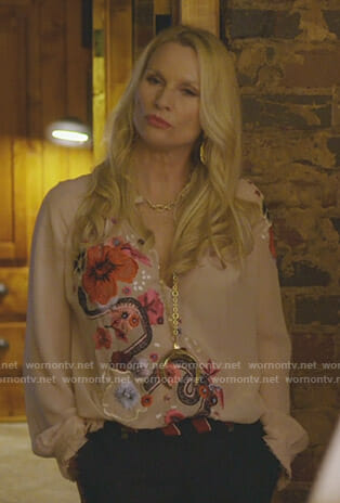 Alexis's pink flower and snake print blouse on Dynasty