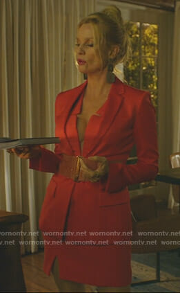 Alexis's red v-neck dress and belted jacket on Dynasty
