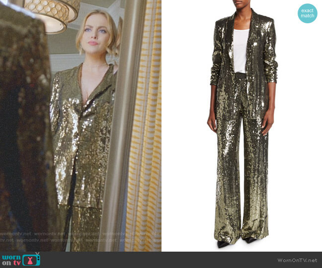 'Jace' Blazer and 'Racquel' Pant by Alice + Olivia worn by Elizabeth Gillies on Dynasty