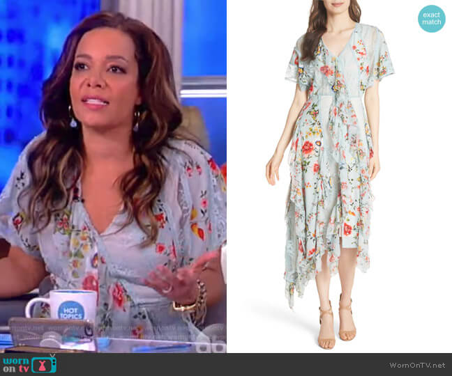 Kadence Ruffled Silk & Lace Midi Dress by Alice + Olivia worn by Sunny Hostin on The View