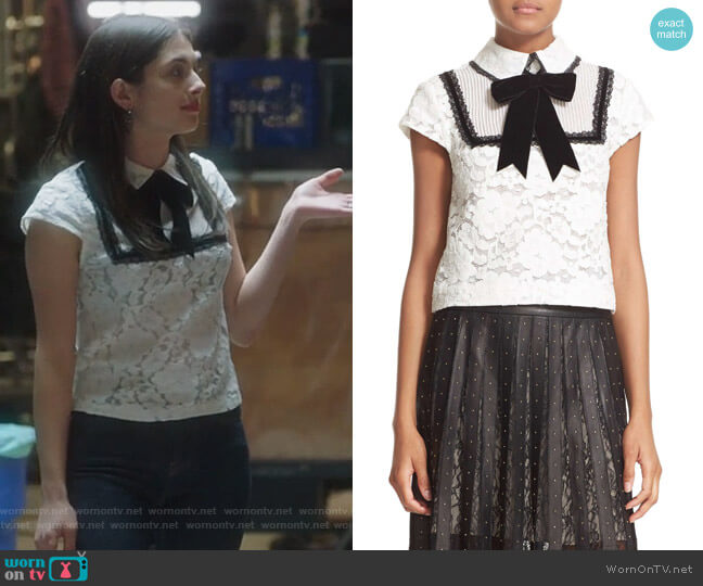 Vanetta Pintuck Bib Lace Shirt with Velvet Bowtie by Alice + Olivia worn by Niki Koss on Famous in Love