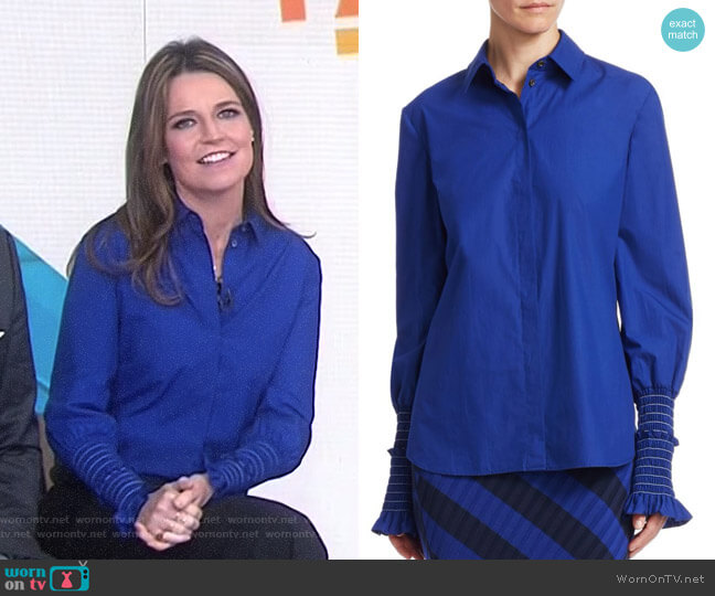 'Jorda' Ruched Sleeve Blouse by Altuzarra worn by Savannah Guthrie on Today