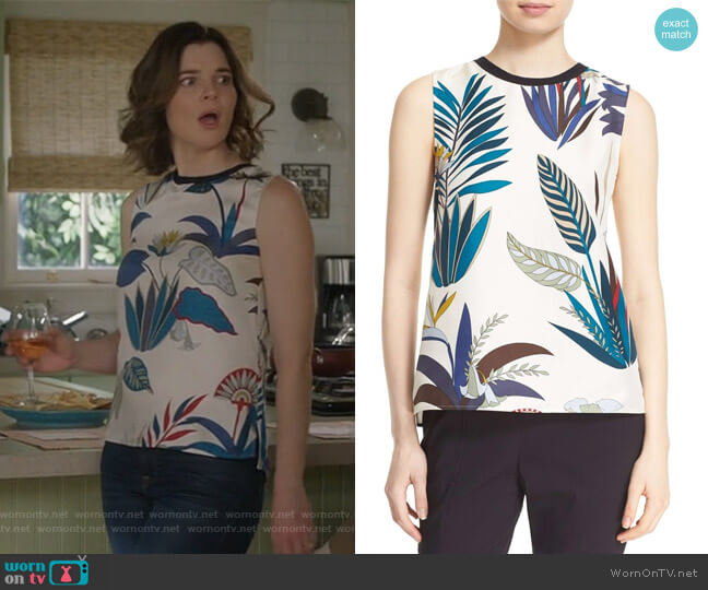 Amalie Silk Shell by Tory Burch worn by Betsy Brandt on Life in Pieces