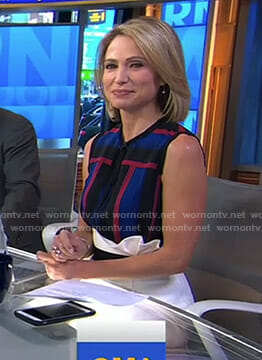 Amy's striped top and white pencil skirt on Good Morning America