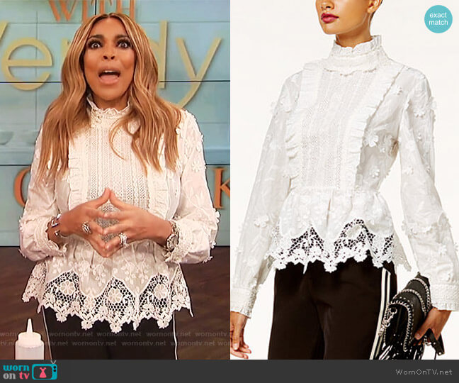 Lace Peplum Top by Anna Sui worn by Wendy Williams on The Wendy Williams Show