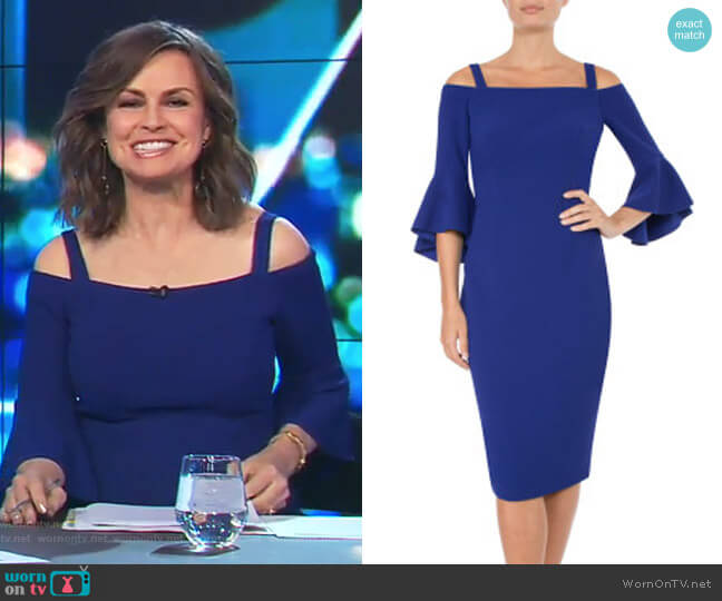 Cobalt Cold Shoulder Dress by Anthea Crawford worn by Lisa Wilkinson (Lisa Wilkinson) on The Project