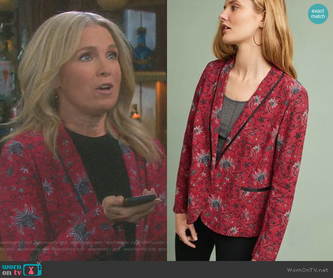 Piped Floral Blazer by Berenice worn by Melissa Reeves on Days of our Lives