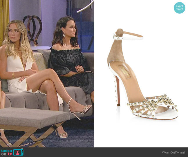 Bon Bon Leather Sandals by Aquazzura worn by Teddi Mellencamp Arroyave  on The Real Housewives of Beverly Hills