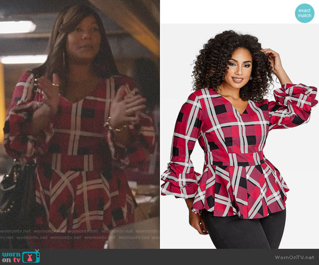 Plaid Ruffle Sleeve Blouse by Ashley Stewart worn by Carlotta Brown (Queen Latifah) on Star