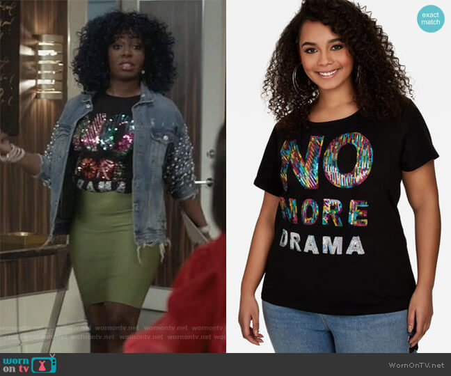Sequined No More Drama Tee by Ashley Stewart worn by Ta'Rhonda Jones on Empire