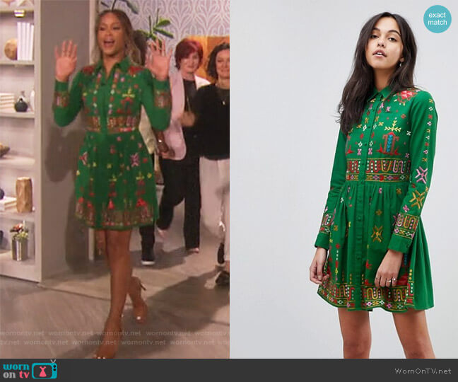 Geo-Tribal Mini Embroidered Skater Shirt Dress by ASOS worn by Eve on The Talk