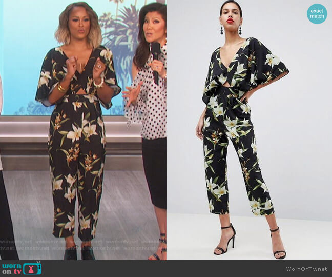 Jumpsuit with Kimono Sleeve in Lily Print by Asos worn by Eve  on The Talk
